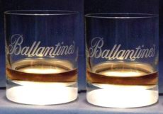 Ballantines whisky glass - luminous glass